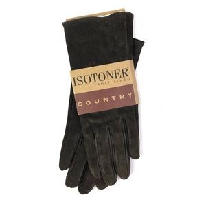 Vintage Isotoner Knit Lined Country Suede Gloves